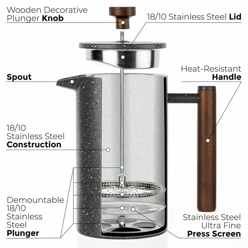 Stainless Steel French Press Maker 1L